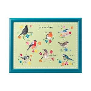 Modrý podnos s potiskem ptáčků David Mason Garden Birds, 43 x 32,5 cm