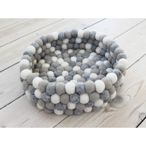 Svetlo sivo-biely guľôčkový vlnený úložný košík Wooldot Ball Basket, ⌀ 28 cm