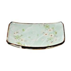 Porcelánový obdélníkový talíř Tokyo Design Studio Green Cosmos,22x15cm