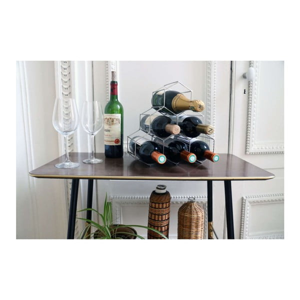 Stojan na víno ve kovové barvě Compactor