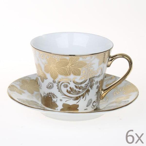 Set hrnků Tea Gold Flowers, 6 ks