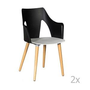 Set 2 scaune Crido Consulting Leggy, negru - alb