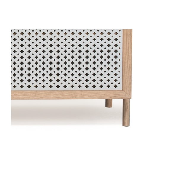 Světle šedý TV stolek z dubového dřeva HARTÔ Gabin, délka 162 cm