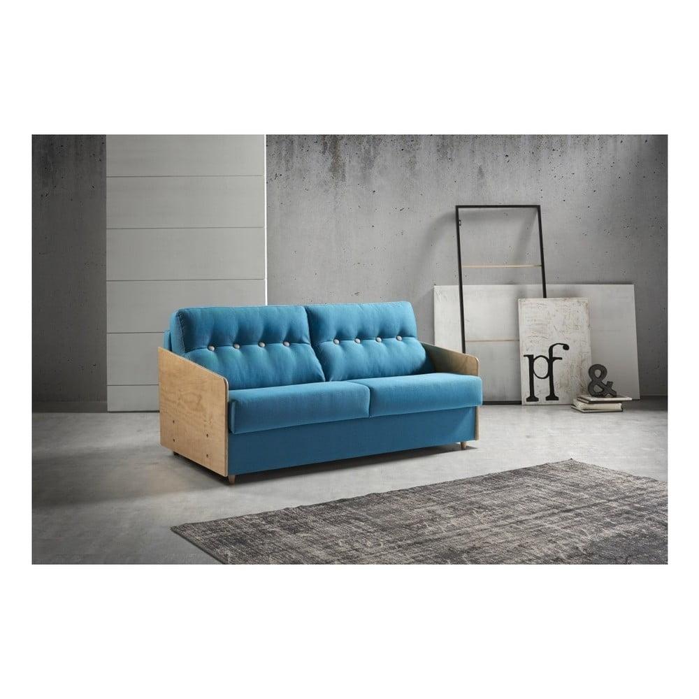 Modrá rozkládací pohovka s dřevěnými područkami Suinta Como, šířka 148 cm