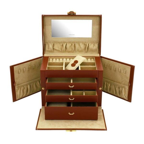 Hnědá kožená šperkovnice Friedrich Lederwaren Cordoba, 26x18cm