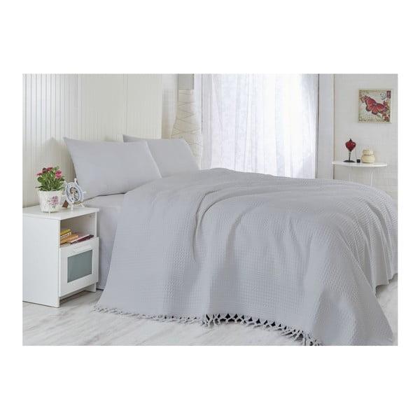 Jasnoszara narzuta z bawełny na łóżko dwuosobowe Lipsy, 220x240 cm