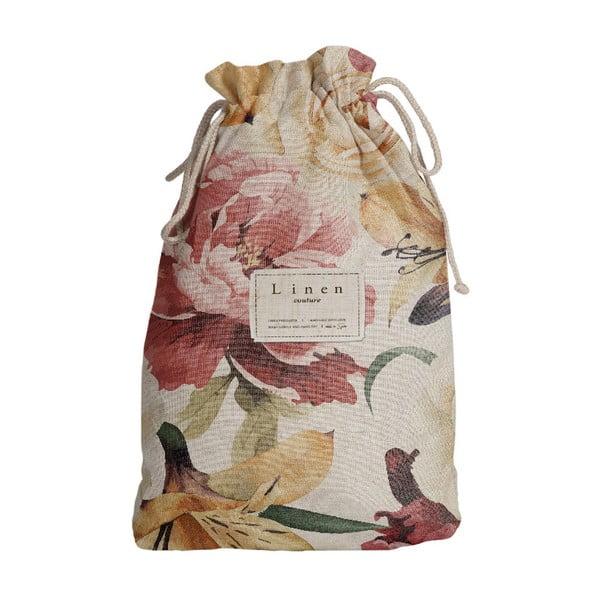 Worek na akcesoria podróżnicze z domieszką Inu Linen Couture Spring Flowers, dł. 44 cm