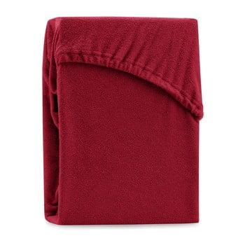 Cearșaf elastic pentru pat dublu AmeliaHome Ruby Dark Red, 180-200 x 200 cm, roșu închis