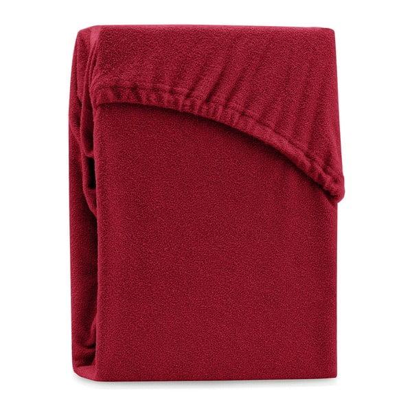 Ciemnoczerwone elastyczne prześcieradło dwuosobowe AmeliaHome Ruby Dark Red, 180-200x200 cm