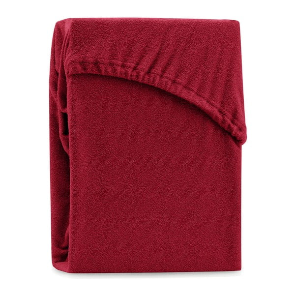 Cearșaf elastic pentru pat dublu AmeliaHome Ruby Dark Red, 200-220 x 200 cm, roșu închis