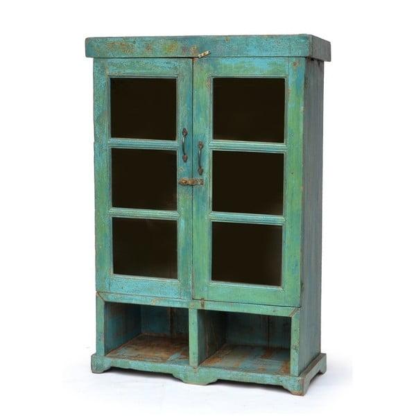 Prosklená skříň Goa 90x132 cm, modrá patina