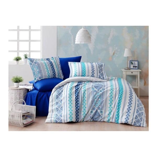 Povlečení s prostěradlem z ranforce bavlny na dvoulůžko Zaur Blue, 200 x 220 cm