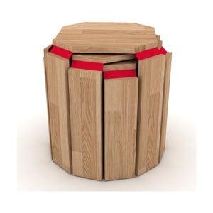 Sada 3 stohovatelných odkládacích stolků s červeným detailem Rafevi Hansel