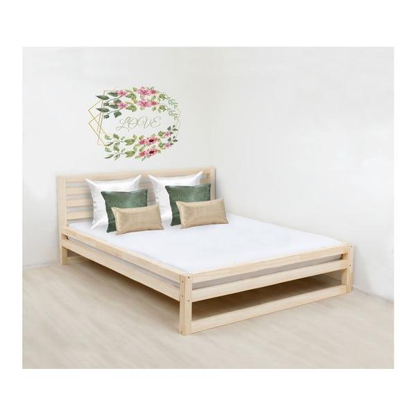 Drevená dvojlôžková posteľ Benlemi DeLuxe Naturelle, 200 × 160 cm