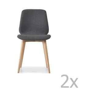 Sada 2 šedých jídelních židlí s nohami z masivního dubového dřeva WOOD AND VISION Cut