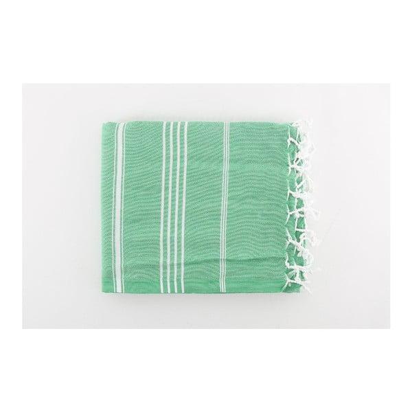 Zelená osuška Hammam Sultan Cagla, 100x180 cm