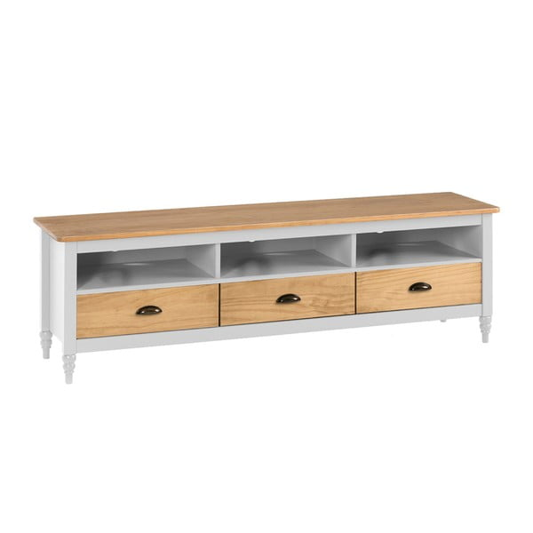 Comodă TV cu 3 sertare din lemn masiv de pin Marckeric Iryna, alb