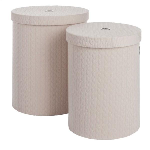 Set 2 boxů Cream Linen