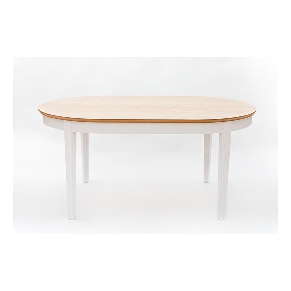 Bílý rozkládací jídelní stůl s detaily z dubové dýhy Wermo Family, 165-215x105cm