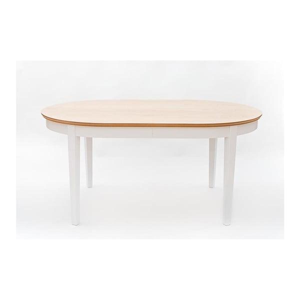 Family fehér bővíthető étkezőasztal tölgyfa furnér elemekkel, 165 - 215 x 105 cm - We47