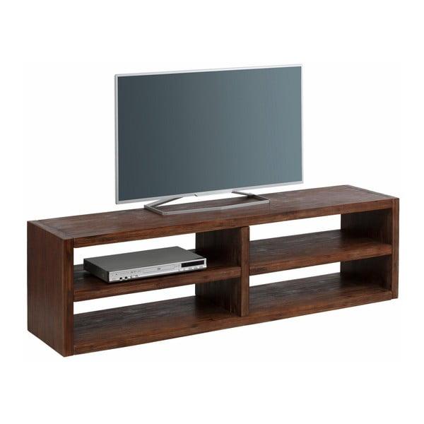 Szeroka szafka pod TV z litego drewna akacjowego Støraa Cubic