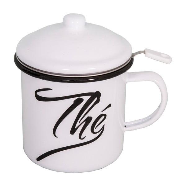 Cană smălțuită cu capac și sită pentru ceai Antic Line, înălțime 11 cm