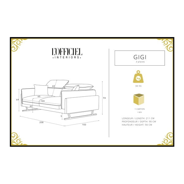 Tyrkysová 3místná pohovka L'Officiel Gigi