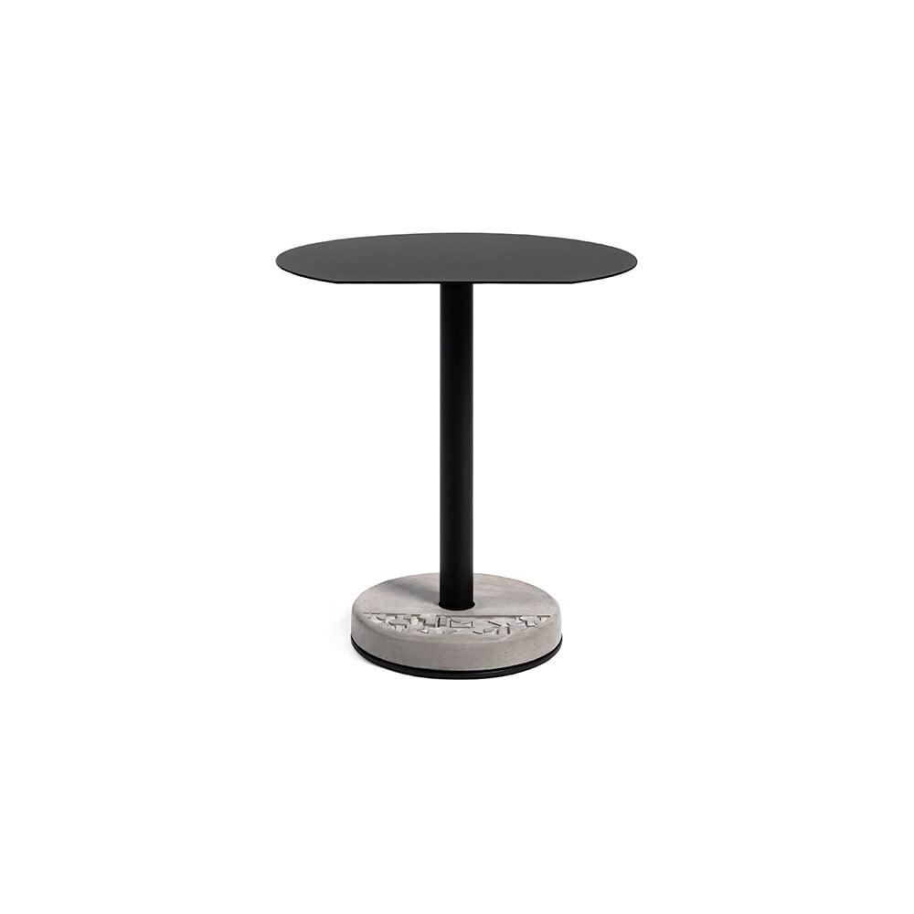 Černo-šedý kovový barový stolek s betonovou základnou Lyon Béton Tronquée, 65 x 58,5 cm