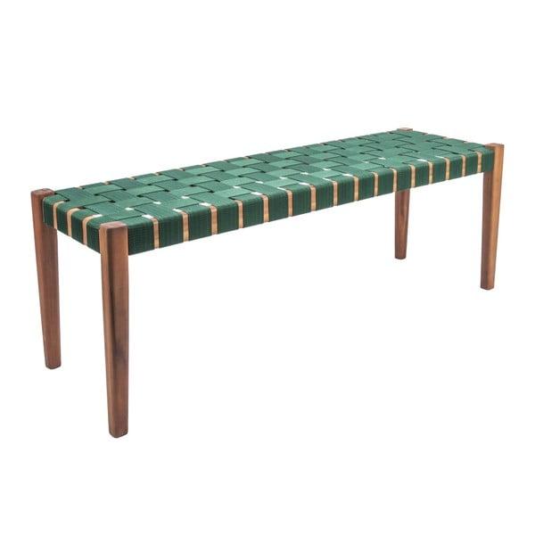 Bancă din lemn de salcâm și nailon Leitmotiv Weave, verde