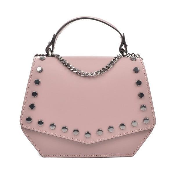 Růžová kožená kabelka Isabella Rhea Pasmo