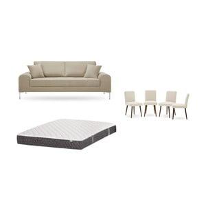 Set třímístné šedobéžové pohovky, 4krémových židlí a matrace 160 x 200 cm Home Essentials