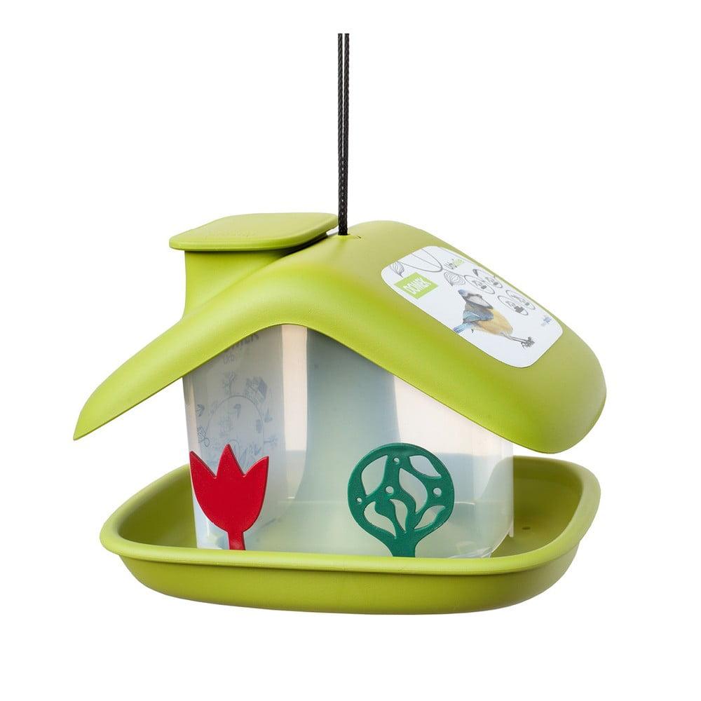 Zelené krmítko pro ptactvo Plastia Domek