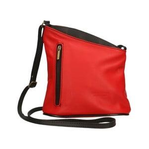 Červeno-černá kožená kabelka Chicca Borse Garturo