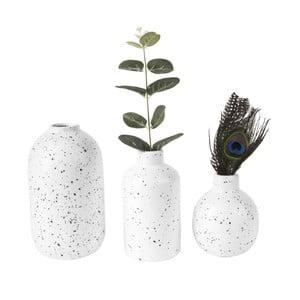 Sada 3 bílých keramických váz PT LIVING Dotted