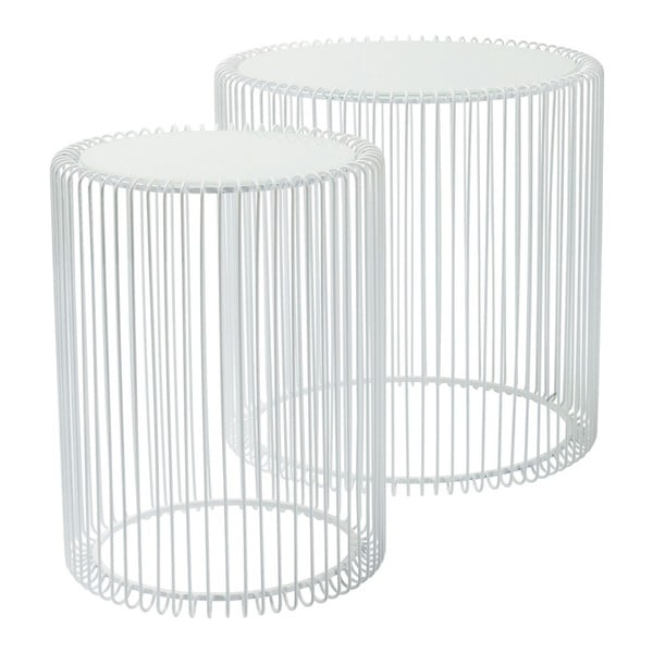 Wire High fehér tárolóasztal, 2 db - Kare Design