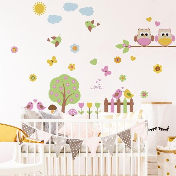 Sada detských samolepiek na stenu Ambiance Owls in the Spring
