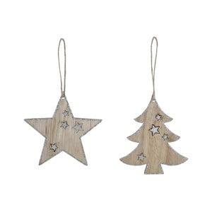 bf9fec8210d Sada 2 závěsných vánočních dekorací ve tvaru hvězdy a stromku Ego dekor