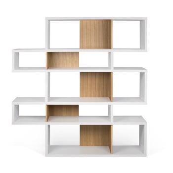 Bibliotecă TemaHome London 002 alb - cu aspect de lemn de stejar