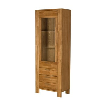 Vitrină cu 3 sertare în decor de lemn de stejar Actona Riva