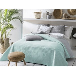 Mátově zeleno-šedý oboustranný přehoz přes postel Slowdeco Buenos, 220 x 240 cm