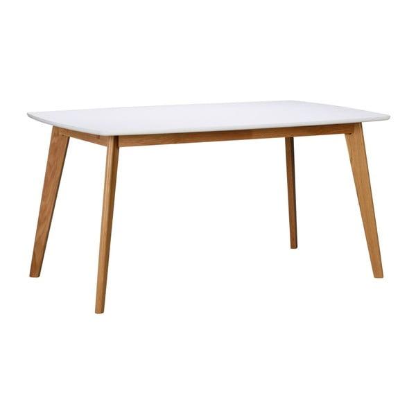 Bílý jídelní stůl s přírodními nohami Rowico Griffin, délka 150 cm