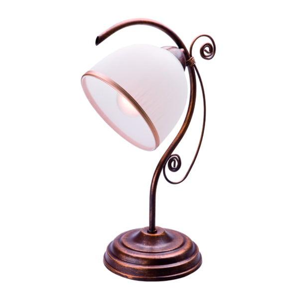 Biało-brązowy lampa stołowa Lamkur
