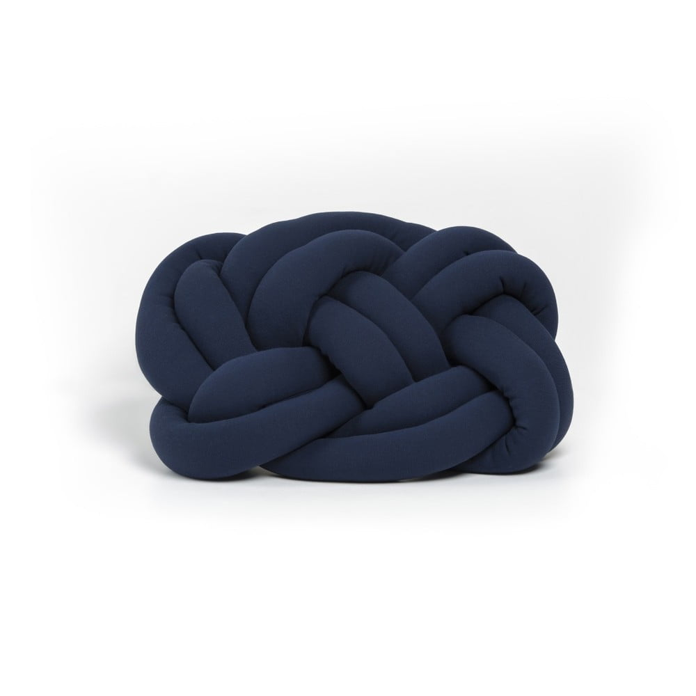 Tmavě modrý polštář Cloud Knot Decorative Cushion, 40 x 32 cm