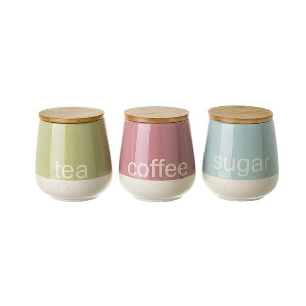 Színes tea, kávé és cukortartó, 3 db - Unimasa