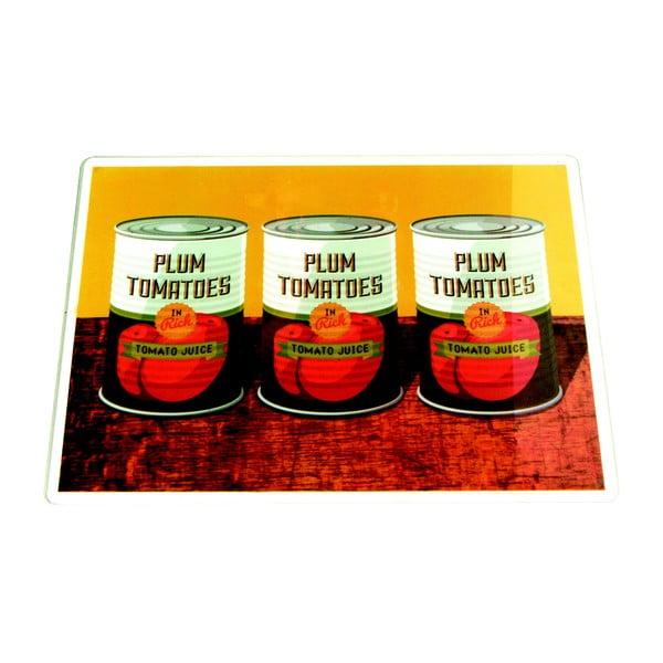 Skleněné prkénko Plum Tomatoes Cans, 30x40cm