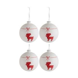 Sada 4 skleněných vánočních baněk J-Line Deer, ⌀ 10cm