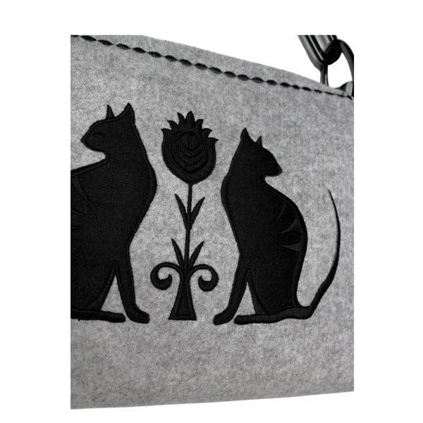 Plstěná vyšívaná kabelka na rameno Folk Kočky