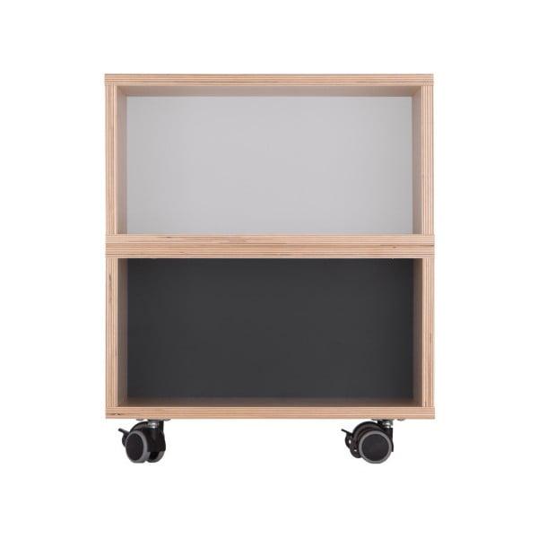 Sivo-čierny nočný stolík Durbas Style