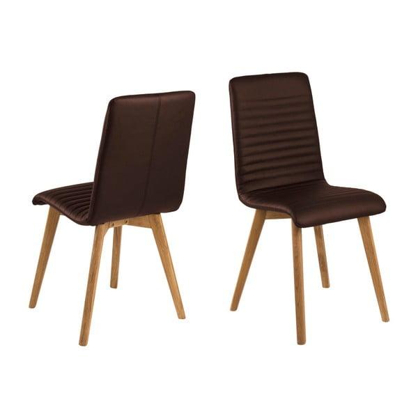 Sada 2 tmavě hnědých kožených židlí Actona Arosa