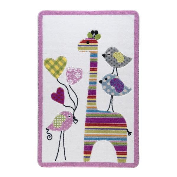 Dětský růžový koberec Confetti Giraffe, 133x190cm